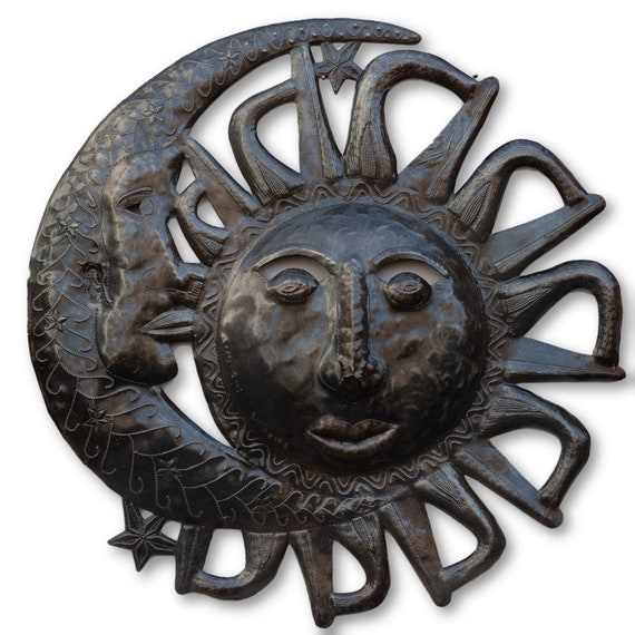 Solar Eclipse, Reclaimed Haitian Metal Sculpture, One-of-a-Kind 23x23