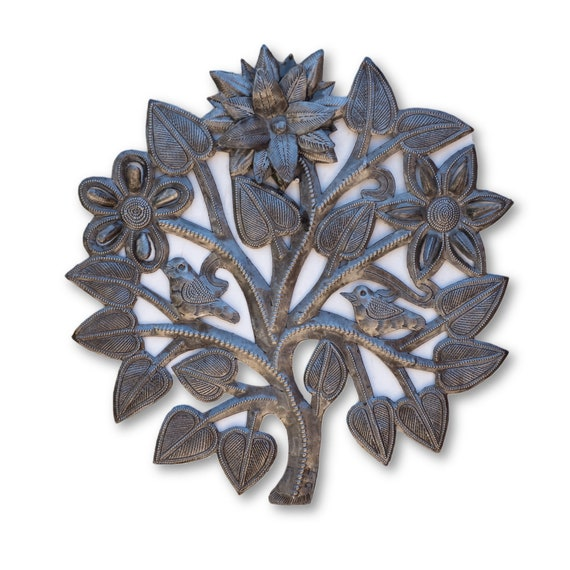 3D Flowered Tree, Quality Haitian Handcrafted Art, One-of-a-Kind 10.5x11