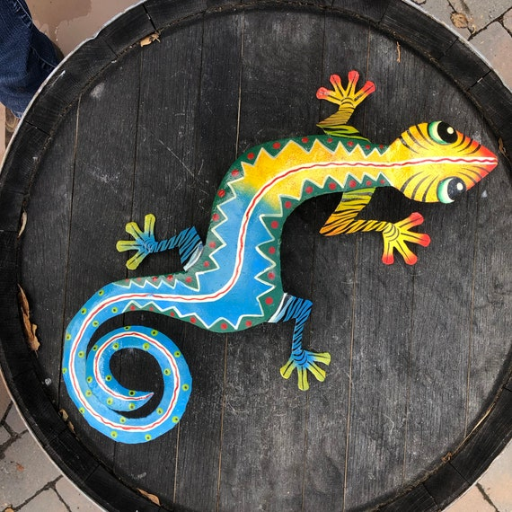 "Gecko, Colorful Hand Painted In Haiti 13"" X 7.5"""