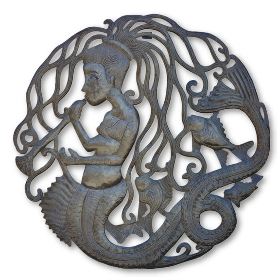 Haitian Mermaid, Quality Handcrafted Haitian Metal Art, One-of-a-Kind 23 x 23