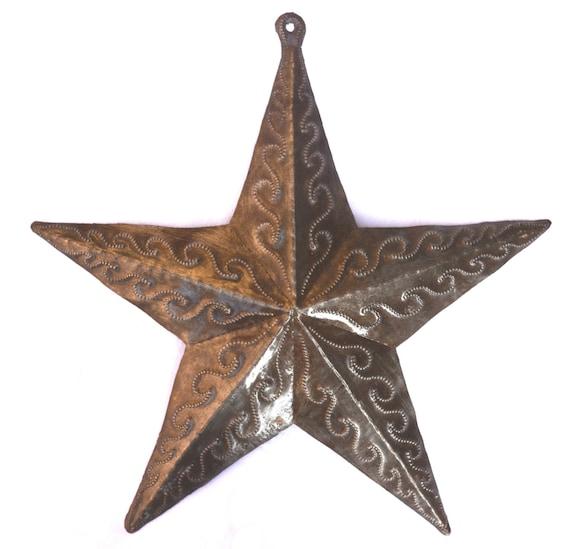 "Hand Made Star, Recycled Metal Haiti 10"" x 10"""
