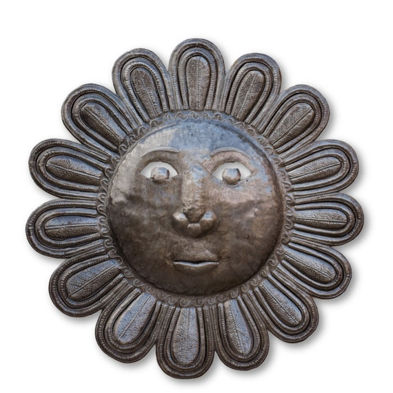 SunFlower (Pun Intended), Quality Haitian Sun Sculpture, One-of-a-Kind 23.5x23.5