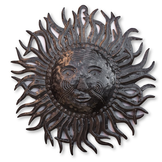Haiti Metal Art, Wise Summer Sun, Handcrafted Home Wall Sculpture, One-of-a-Kind 24x23in.