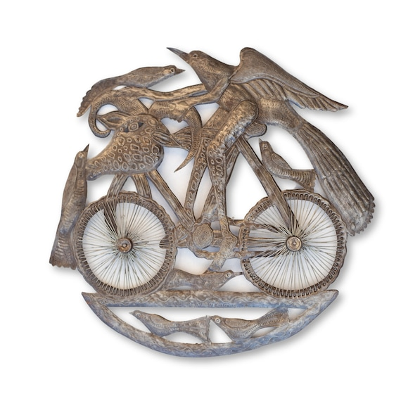 Riding Dragon Bicycle, Unique Haitian Sculpture Made From Recycled Metal, 24x22.5