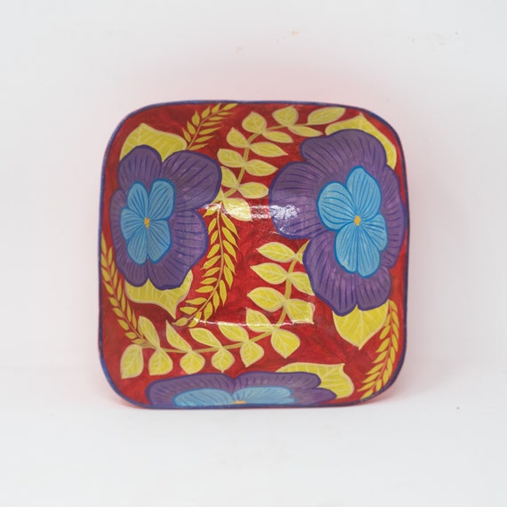 """Small Red Square Floral Bowl, Purple & Blue Flowers, One-of-a-Kind Dinnerware 6.5""""x6.5"""""""