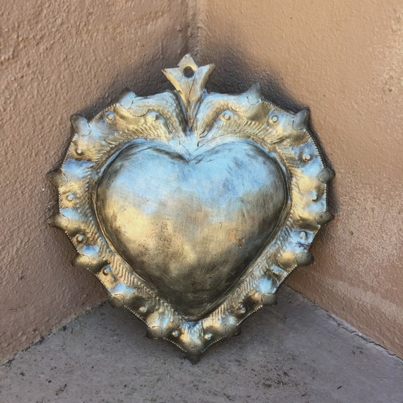 Milagro Metal Heart with Spikes, Inspirational Wall Decor, Handmade in Haiti from recycled oil drums 8.75 X 10""