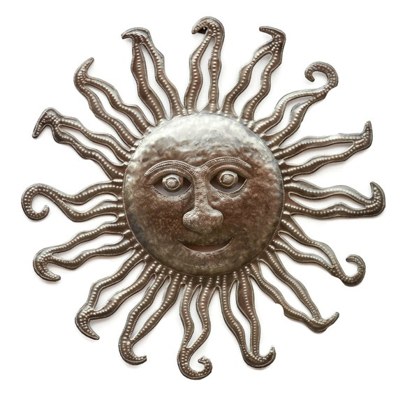 Sun, Handmade Quality Art Made From Haitian Metal, One-of-a-Kind 23x23