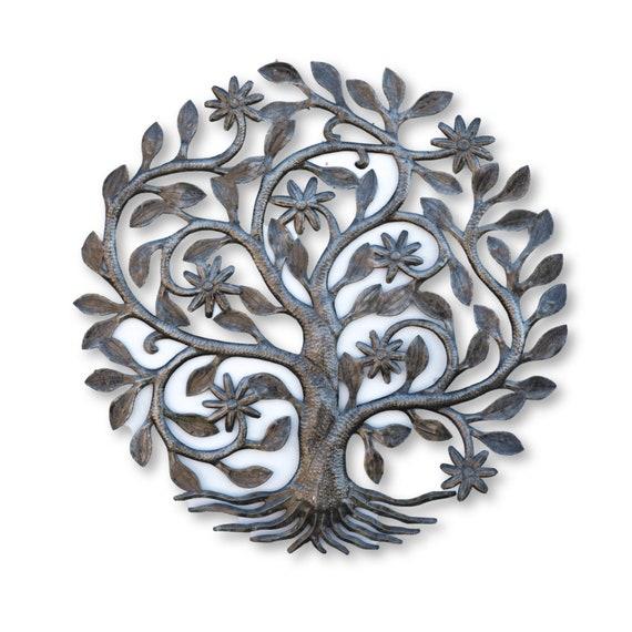 Haitian Garden Decor, Handcrafted Flower Tree Sculpture, Fair Trade Art 23x23in.