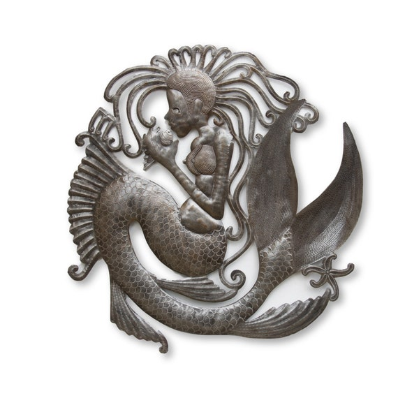 Mermaid Playing with Seashell, Sea Life Nautical Metal Sculpture, Limited Edition Art 22x23 Inches