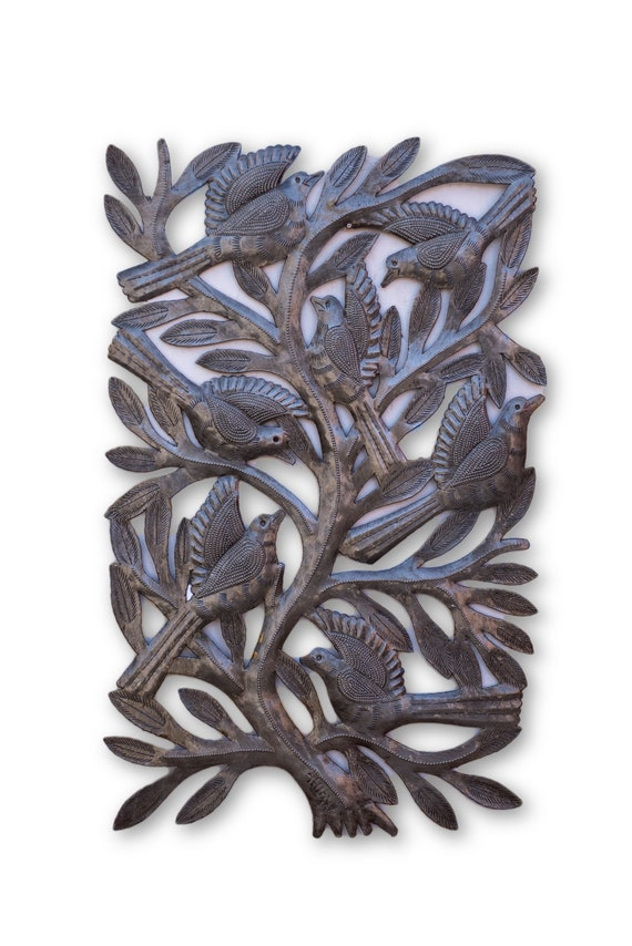 Tree with Flying Birds, Beautifully Handcrafted Garden Sculpture, One-of-a-Kind 17x10.5