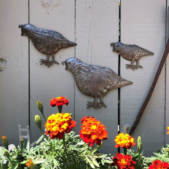 "Metal Quail Facing Left, Handmade in Haiti, (Set of 3) Garden Wall Art 10.5"" x 7"", 8"" x 6"" and 5.5"" x 4"