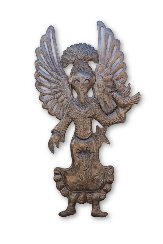 Garden Metal Angel, Novelty Gift, Quality Haitian Angelic Sculpture, Limited Edition 19.5 x 10