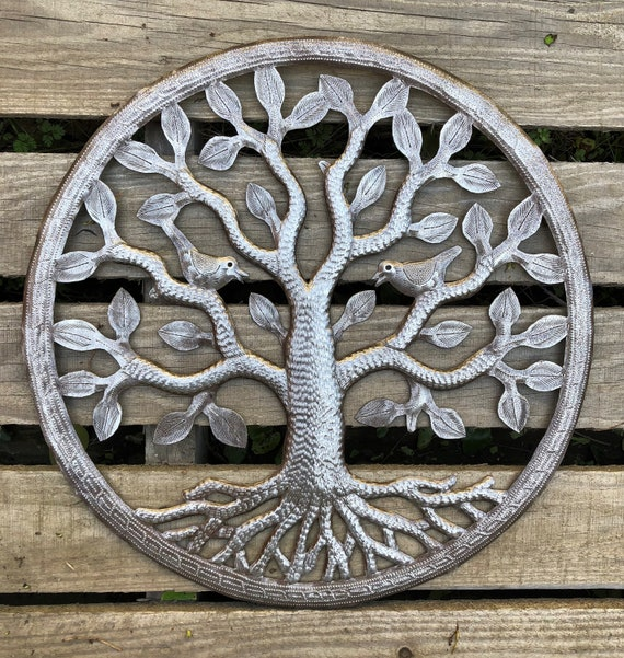 "New Garden Tree of Life, Quality Craftsmanship from Haiti, Handmade from Recycled oil drums, Novelty Gift  17"" x 17"""