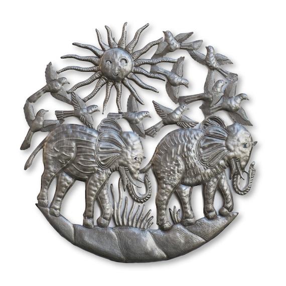 Haitian Folk Art, Migrating Elephants Handcrafted Metal Sculpture, Fair Trade 23x23in