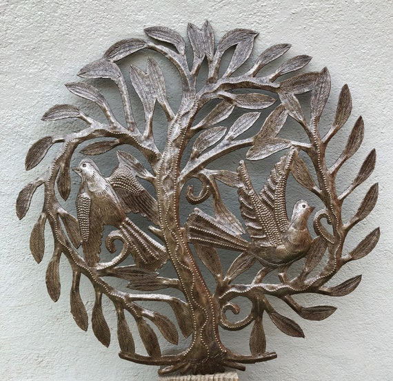 """Small Round Tree of Life with Birds, Decorative Metal Wall Hanging Artwork from Haiti, Handmade from Recycled Steel Drum Barrels 15"""" x 15"""""""