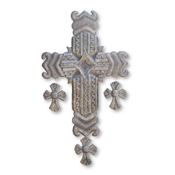 Diamond Cross with Three Hanging Crosses Handmade in Haiti, Fair Trade 13x24