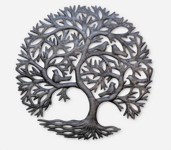 Whispering Garden Metal Tree with birds, Decorative Wall Hanging Artwork, Handmade in Haiti, Indoor and Outdoor 23 inch.