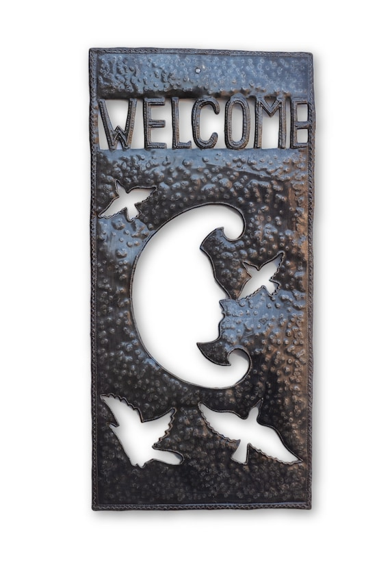 Welcome Moon Sign, Quality Haitian Metal Art, One-of-a-Kind Sculpture 11x23