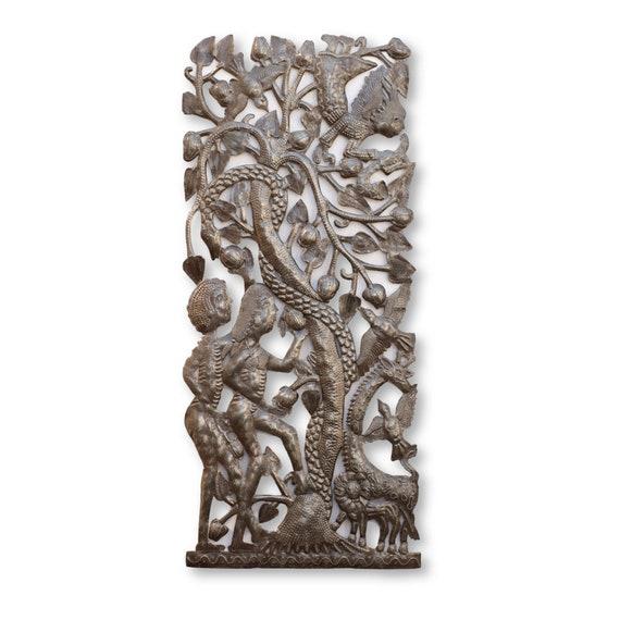Christian Adam & Eve with Serpent w/ Forbidden Fruit, One-of-a-Kind Art 34x14.5