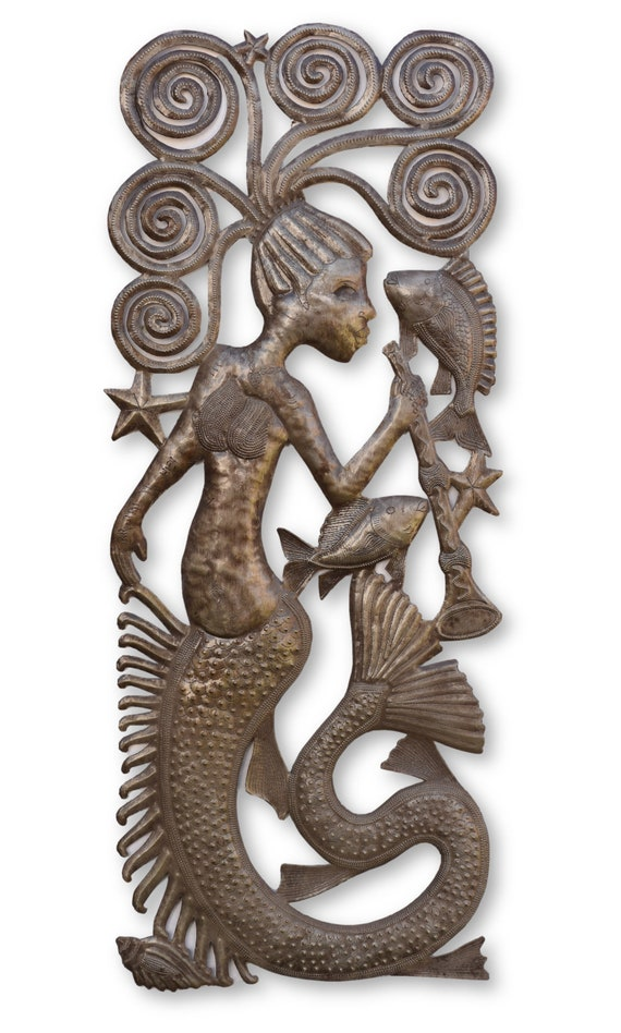 Mermaid with Trumpet Handcrafted in Haiti From Recycled Metals, Limited Edition 13.5x34