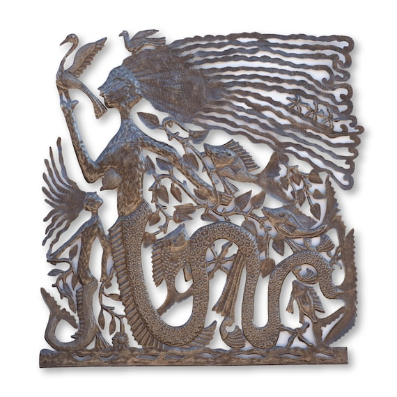 Big Little Mermaid, One-of-a-Kind Handcrafted Haitian Metal Sculpture, 35.5x35