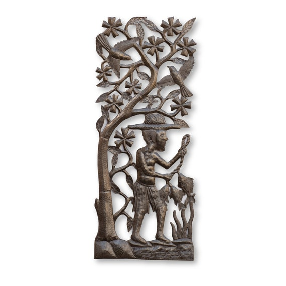 Fisherman Fishing in Haiti, One-of-a-Kind Handcrafted Metal Art, 34.5x13