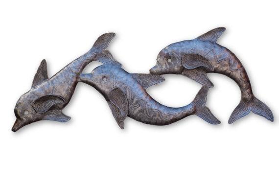 Metal Wall Art, Dolphin Trio, Quality Haitian Aquatic Art, Limited Edition Sculpture 8x22.5