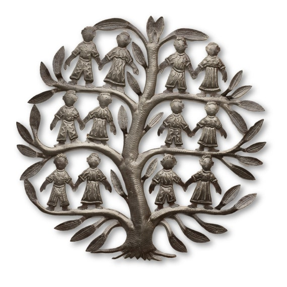 Rustic Sculpture of Children on Tree of Life, One-of-a-Kind Sculpture 17.5x17