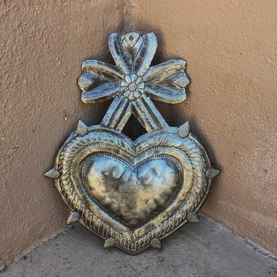 "Heart, Sacred Heart, Milagro Charm, Handmade in Haiti, Fair Trade 7""x 9"""
