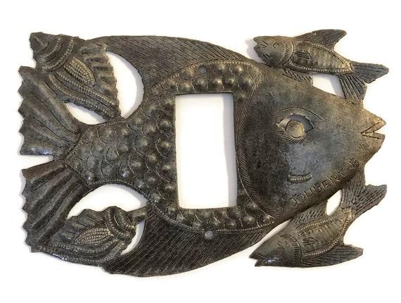 Electrical Rocker Plate Cover, Nautical design, starfish and mini fish, handmade in Haiti