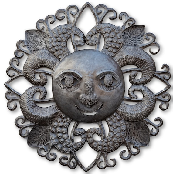Perfect Haitian Summer Sun Made From Recycled Metal, Limited Edition 22.5x22.5
