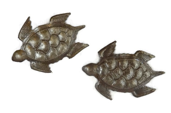 "Turtle, Swimming Left, Ocean, Beach, Metal Wall Art, Recycled Steel Haiti (set of 2) 4"" x 5.5"""