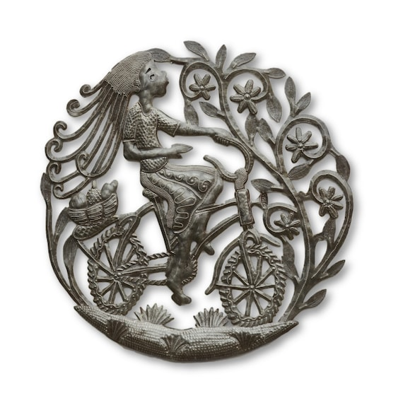Girl on Bike, Quality Handcrafted Haitian Metal Sculpture, Limited Edition 23x23