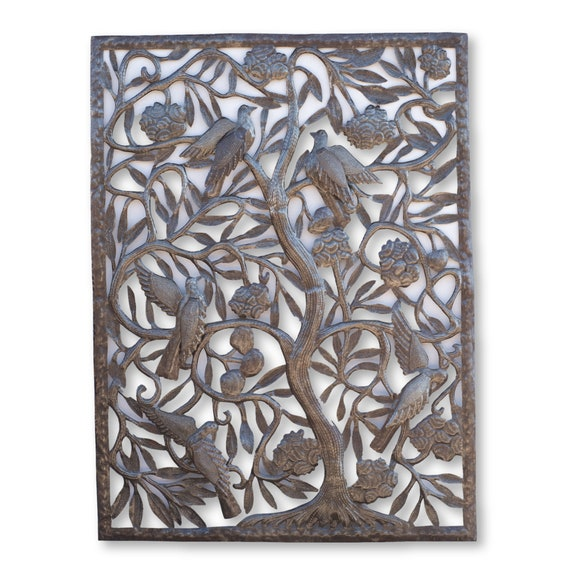 Unique Tall Tree of Life, One-of-a-Kind Haitian Metal Sculpture, 30x40