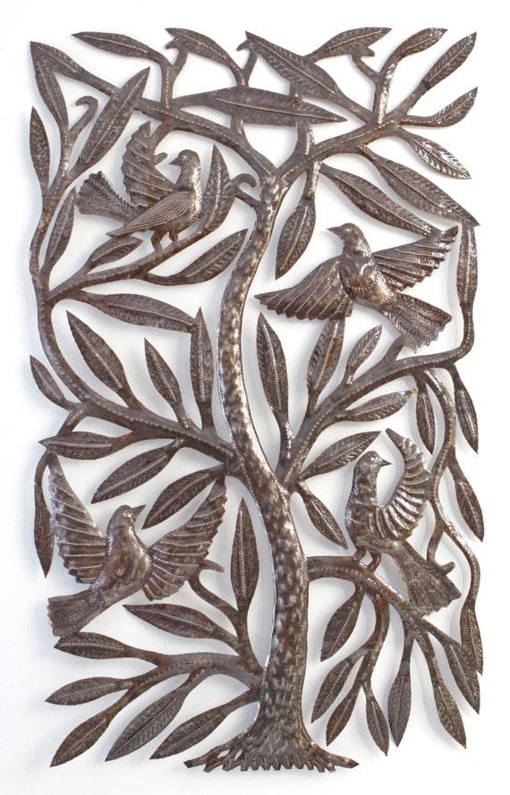 "Large Sacred Tree of Life Garden Haiti Metal Art 21"" x 34"""