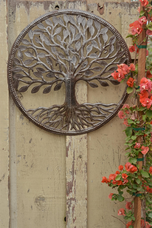 Organic Tree of Life, Farm House Rustic Haitian Metal Wall Art, Hand ...