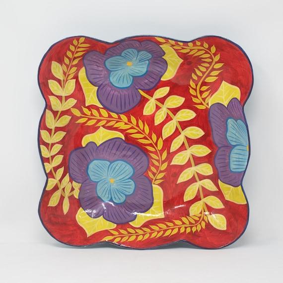 "Blue & Purple Flowered Haitian Paper Mache Bowl with Blue Back, 10.25""x10.25"""