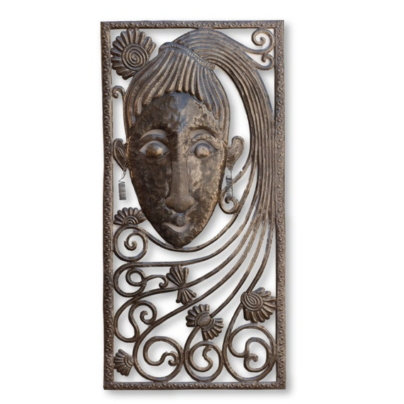 Long Haired 80's Girl Mask, One-of-a-Kind Haitian Metal Wall Decor, 35x17