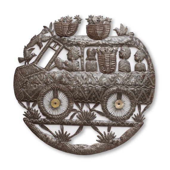 Tap Tap Truck, Backyard Patio Decorative Artwork, Limited Edition Haitian Metal Sculpture, Fair Trade Art, 23x23