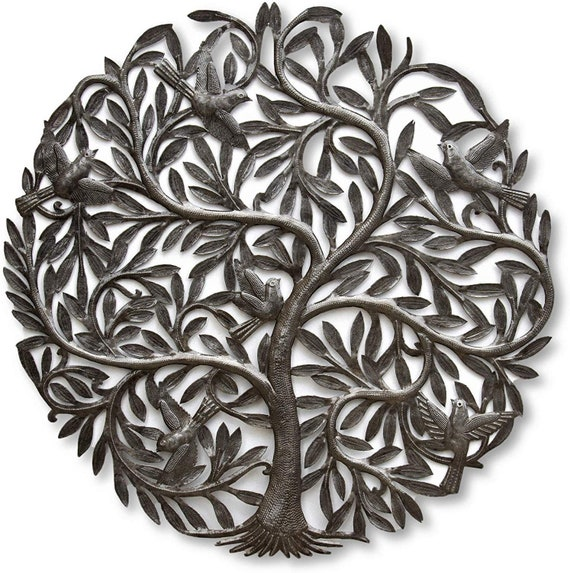 Large Organic Tree of Life with Birds   Wall Art, Farm House, Haitian Metal, Hand Hammered Steel, Garden Artwork, Recycled iron Barrel 33.5""