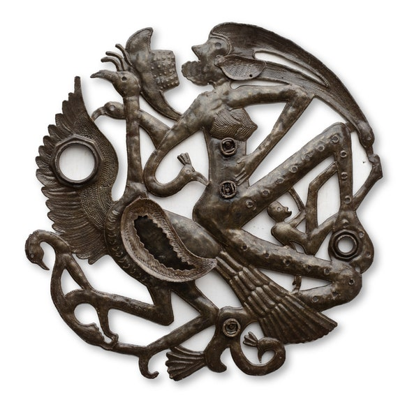 Winged Voodoo Creature Lid Made in Haiti, One-of-a-Kind Metal Art 23x23