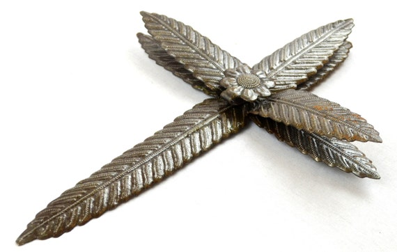 """Metal Cross, Floral 3-D Collection Haitian Recycled Wall Art, Novelty Gift  8"""" X 13"""""""