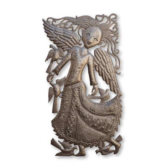 Dancing Angel, One-of-a-Kind Handcrafted Haitian Metal Sculpture, 32x17
