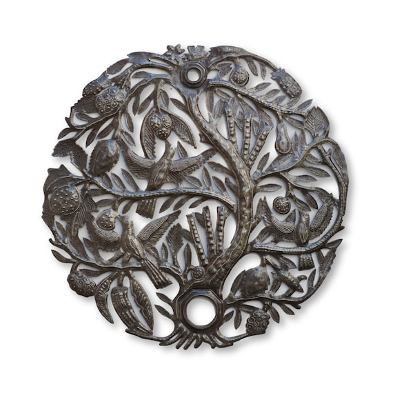 Haiti Fair Trade Art, Tree of Life Handcrafted From Oil Barrel Lid, One-of-a-Kind 23x23in.
