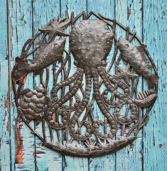 "Octopus with Turtles, Quality Craftsmanship from Haiti, Recycled Metal Ocean Themed Wall Art 23"" x 23"""