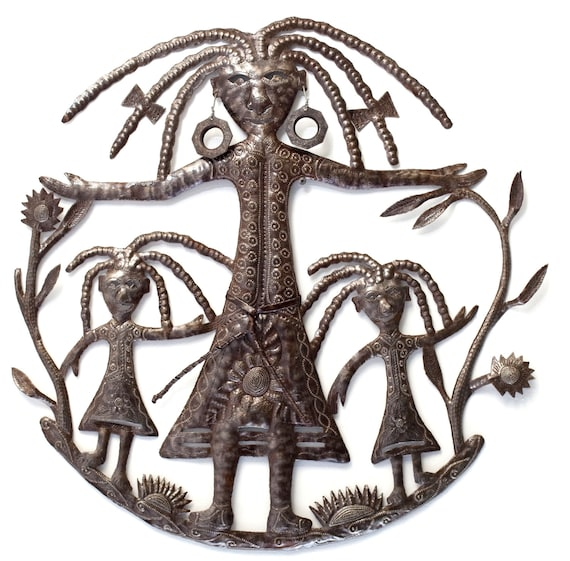 "Mother and Daughters Wall Sculpture,Mother's Day Handmade in Haiti, Recycled Metal 23"" X 23"""