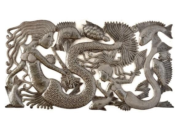 "Metal Mermaid Wall Sculpture, Ocean Themed Family Room, Haitian Craftsmanship , Recycled Oil Drum 34"" X 18"""