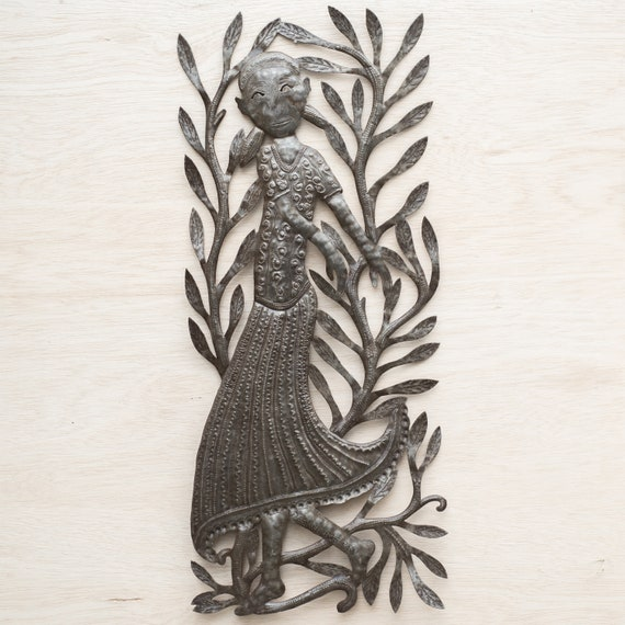 Dancing Haitian Woman, Large Metal Sculpture Handmade in Haiti, One-of-a-Kind 14x33