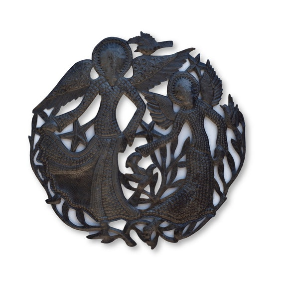 Faceless Angels Handmade in Haiti, One-of-a-Kind Recycled Metal Art 22x22