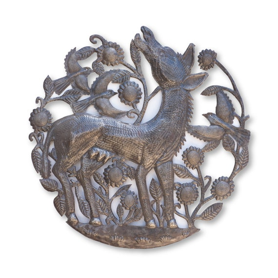 Handmade Metal Donkey Plaque, Farm Artwork, Wall Hanging, Crafted in Haiti, One-of-a-Kind Sculpture 23x23